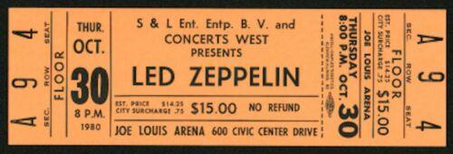 LED ZEPPELIN-John Bonham-1980 Unused Concert Ticket (Detroit-Joe Louis Arena)