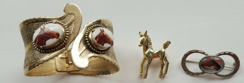 Horse Lovers. 3 Pc Jewely pins and bangle