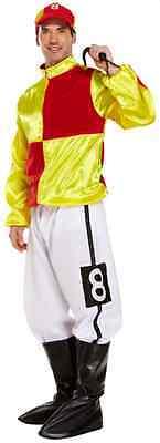 Herren Rot/Gelb 4 Stück Jockey Pferderennen Uniform Kostüm Kleid Outfit