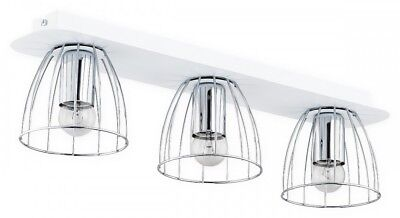 Metal Wire 3 Flush Lights Chrome Lampshade White Matt Fitting - Industrial Reda ()