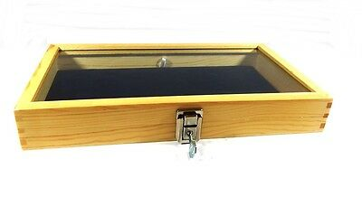 Key Lock Natural Wood Glass Top Blue Pad Display Case Militaria Jewelry Knife
