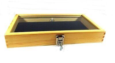 Key Lock Natural Wood Glass Top Blue Pad Display Case Militaria Jewelry Knife