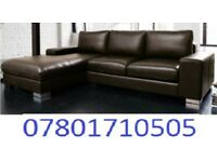 SOFA JANUARY SALE LAST FEW DAYS ITALIAN NERO LEATHER CORNER SOFA BLACK OR BROWN