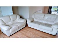 3 seater and 2 seater creme leather sofas