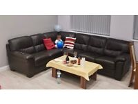 Harveys Brown Corner Leather Sofa - Used but in perfect condition