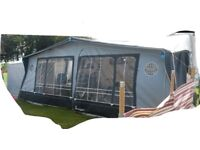 Isabella Full Awning 1000cm, extra wide, fibre glass poles with 2 tall annexes, Very good condition