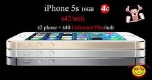 Price drop! unlocked iPhone 5s on only $42 a month plan Auburn Auburn Area Preview