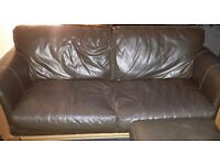 Brown 3 seater plus chair and pouffe