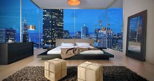 Modern Platform Bed in White or Grey Leather!  FREE Shipping Courtenay!