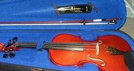 Full size violin with bow extra strings and case