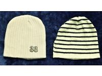 x2 Cream Beanie Hat Bundle inc Saint James Navy Stripy Wool