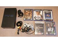 PS2 lot with console, controller and 5 games