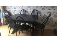 Vintage Extending ercol dining table and 6 Quaker Chairs black