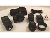 Nikon D5500 DSLR 24MP Camera 18-55mm VR Lens, AF-S 50mm F1.8G Lens & Speedlite YN568EX Like New!