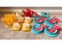Toy tea set and beauty set