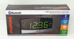 Sylvania SCR1989BT Dual Alarm Bluetooth AM/FM Clock Radio with Jumbo Display NEW