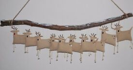 CAREFULLY HANDCRAFTED OOAK UNIQUE PRIMITIVE TEXTILE SANTA'S REINDEERS WALL HANGING