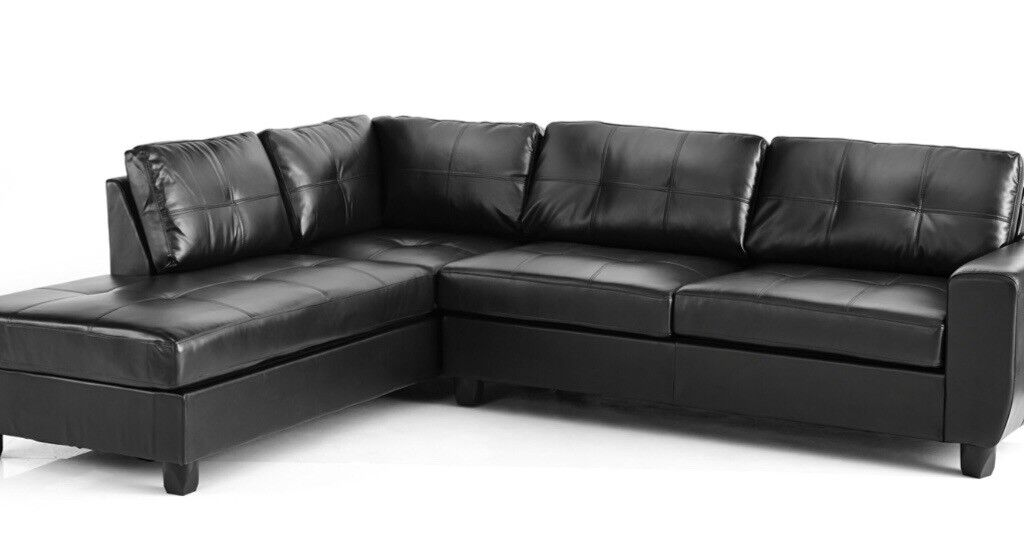Black leather corner sofa (left hand facing) 3 yrs old, very good condition