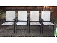 SET OF 4 GARDEN / PATIO FOLDING CHAIRS - Cream&Black (need cleaning / up cycling or re-covering