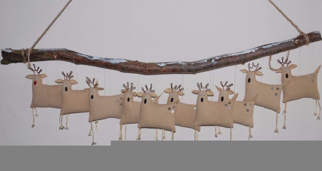 CAREFULLY HANDCRAFTED OOAK UNIQUE PRIMITIVE SANTA'S REINDEERS WALL HANGING