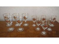 Vintage Famous Grouse Wine Whisky Sherry Port Glasses 5 Large 6 Small No chips