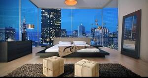 Modern Platform Bed in White or Grey Leather!  FREE Shipping Montreal!