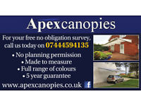 Made to measure garden canopies and carports - 25% off through June