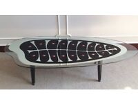 Retro Vintage Mid Century Fishbone Peacock Glass Silver Dansette Coffee Table