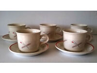 Set of 5 Cups & Saucers, Ceramic, off-White with Grey & Rust Red Pattern