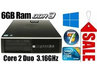 HP Elite PC Desktop, C2D 3.16GHz, 250GB HD,6GB Ram DDR3