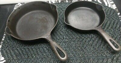 """GRISWOLD BLACK CAST IRON FRYING PANS #3 and #5 * 8.75"""" and 71/8"""" * VTG ERIE, PA."""