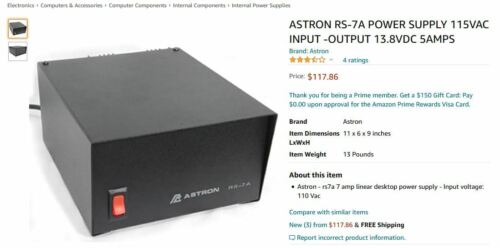 Astron RS-7A 12V DC Linear Power Supply.  Ham / CB base station / hobby