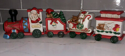 Vintage Ceramic Porcelain Ivory Christmas 4 Piece Connecting Train Set Each 8