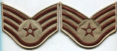 USAF US Air Force DCU Desert Tan Staff Sergeant Stripes Chevrons  Pair