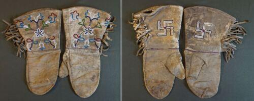 Fine 1900 Native American Tlingit Beaded Mitten Gloves w Whirling Log & Floral