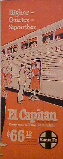 1942 SANTA FE RAILROAD~TRAIN DOME~LEVEL HEIGHT SEATS AD