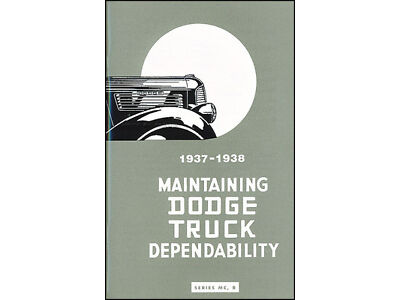 1937-1938 Dodge Half-ton Pickup Truck Owner Manual Screenside Panel Suburban