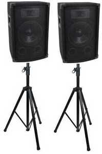 600 Watt DJ PA Speakers & Stands, NEW!