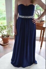 BRAND NEW Blue evening dress, size 10 with embellished detail around waist. UNWORN!!