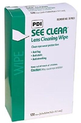 "120 PDI SEE CLEAR Eye Glasses Lens Cleaning Wipes 5""x8"" Eyeglass ( Not Zeiss)"