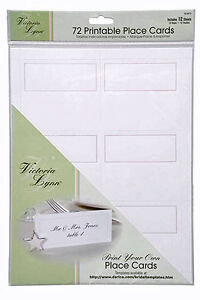 72 Computer Printable Print Your Own Table Place Cards White W Silver Border