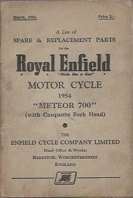 ROYAL ENFIELD METEOR 700 ORIGINAL 1954 FACTORY ILLUSTRATED PARTS CATALOGUE