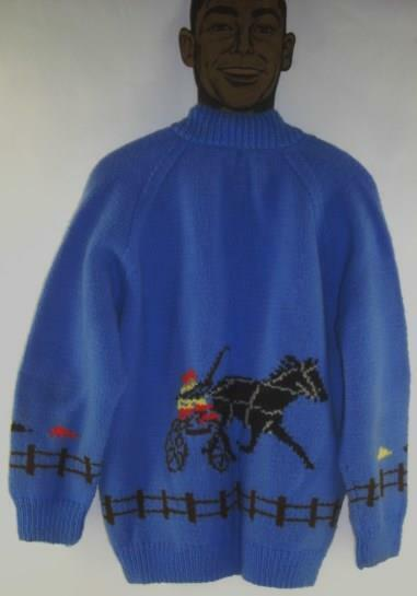 vintage handknitted SULKY HORSE RACING long sleeve Win Place Show SWEATER 5pix