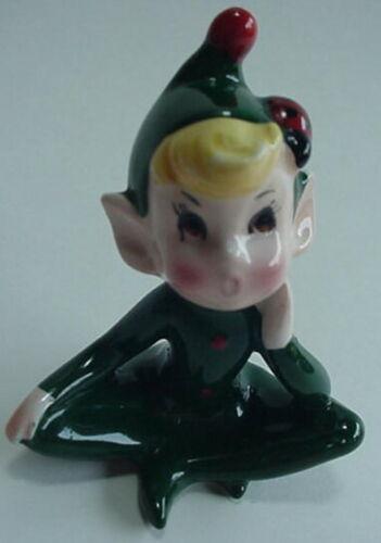 Vintage Christmas Pixie Elf Ceramic Figure Green Sitting Figurine Ladybug Japan