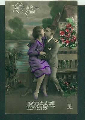 Alte Postkarte aus dem 1. WK: Küssen ist keien Sünd, 1915
