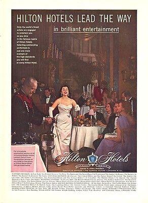 1957 Hilton Hotels Dining Room Print Ad