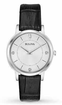 Bulova Quartz Women's Diamond Accents Black Leather Band 31mm Watch 96P189