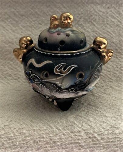 VTG Porcelain DRAGON WARE Moriage CENSOR INCENSE BURNER PCDG Japan Gray White