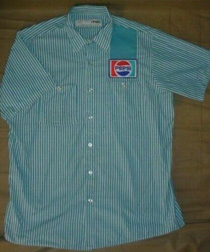 NOS Vintage Pepsi Cola Employee Delivery or Driver Stripe Work Shirt LARGE