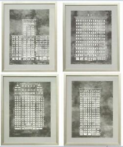 Set of 4 Theatre Grey Blueprints - Glucksteinhome